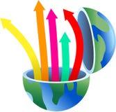 Arrow globe vector illustration