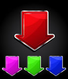 Arrow glossy download button, icon. Stock Photo