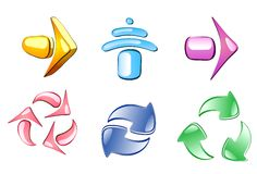 Arrow glossy icons Stock Images