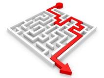 Arrow going through the maze. Right solution concept Stock Photos