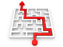 Arrow going through the maze. Right solution concept Stock Photography
