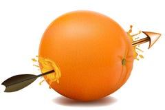 Arrow going through an orange Stock Image