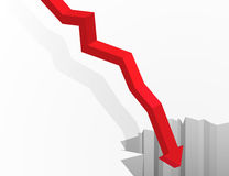Arrow going in to the abyss. Financial and economic crisis graph concept. Arrow going in to the deep abyss. Isometric vector illustration Stock Photo