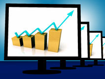 Arrow Going Up On Monitors Shows Financial Growth. And Success Royalty Free Stock Photos