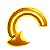Arrow gold metallic 3d Stock Photography