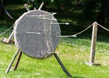 An arrow got into target Stock Photos