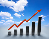 Arrow and graph Stock Images