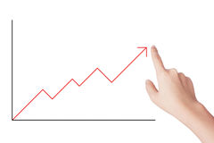 Arrow Graph. Grow up with human hand Stock Photo