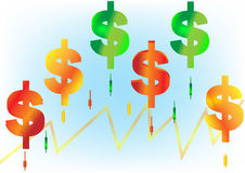 Arrow graph bar stock and dollar. Royalty Free Stock Image