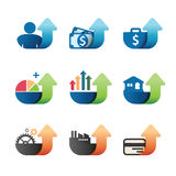 Arrow Graph chart Business concept Icons set. Royalty Free Stock Images