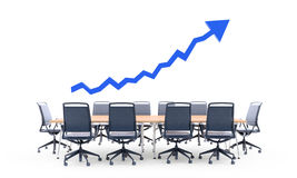 Arrow graph chart over a conference table royalty free stock photography