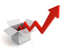 Arrow graph coming from opened cardboard box Stock Image
