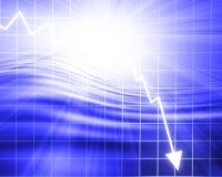 Arrow graph going down Royalty Free Stock Photos