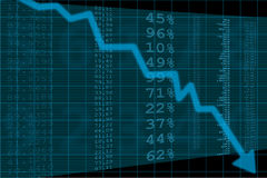 Arrow graph going down Stock Photography