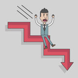 Arrow graph going down and businessman is falling down Royalty Free Stock Photography