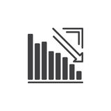 Arrow graph going down icon vector, filled flat sign, solid pictogram isolated on white. Royalty Free Stock Images