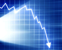 Arrow graph going down Royalty Free Stock Image