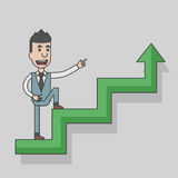 Arrow graph going up and businessman going up with case rises to top step of stairs Royalty Free Stock Photo