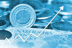 Arrow graph going up and polish currency Stock Image