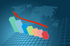 Arrow graph going up on result Stock Images