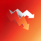 Arrow business profit graph peeling down decline from red paper background, create by vector stock illustration
