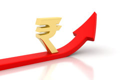 Arrow graph and  Rupee signs Stock Photography