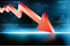 Arrow Graph showing business decline. Digital illustration stock illustration