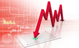 Arrow Graph showing business decline. 3d render of Arrow Graph showing business decline Stock Photography