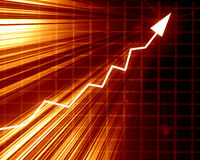 Arrow graph showing success. On a fire like background Stock Images