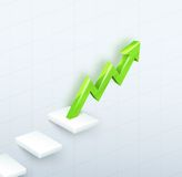 Arrow Graph with steps up Royalty Free Stock Photography