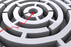 Arrow graphic crossing straight over maze Royalty Free Stock Image