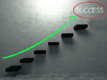 Arrow green chalk drawing to success on stair Royalty Free Stock Images