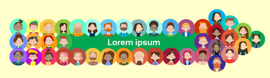 Arrow Group Casual People Big Crowd Diverse Ethnic Mix Race Banner. Flat Vector illustration Stock Photography