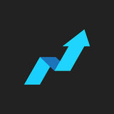 Arrow growing graph vector icon. Progress arrow grow sign illust. Ration. Business concept Stock Photography