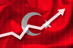 Arrow growth up on the background of the flag of the Turkey. White arrow growth up on the background of the flag of the Turkey Stock Photos