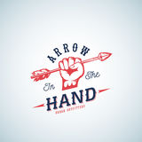 Arrow in the Hand Abstract Vector Logo Template. Red Fist Silhouette Symbol with Retro Typography. Stock Image