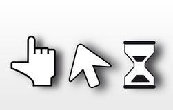 Arrow and hand cursor icon. Stock Photo