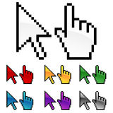 Arrow And Hand Cursors. A set of seven different colored hand and arrows cursor icons Royalty Free Stock Image