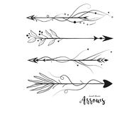 Arrow hand drawn set. Vector arrows collection in boho rustic st. Yle. Linear beautiful ornate with curve dots vintage illustration. Decorative lovely pattern royalty free illustration