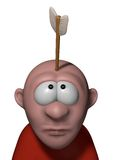 Arrow in head. Cartoon character with arrow in his head - 3d illustration Stock Photos