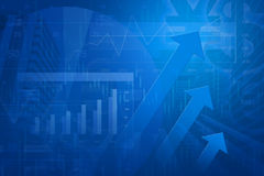 Arrow head with Financial chart and graphs. On city background, blue tone Stock Image