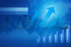 Arrow head with Financial chart and graphs on city; success concept stock illustration