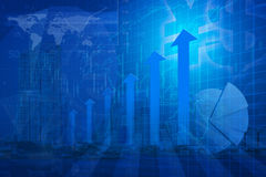 Arrow head with Financial chart, success global, Elements of thi Royalty Free Stock Photo