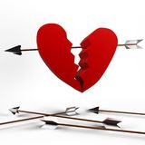 Arrow in heart. Picture showing how arrow go into heart Stock Photo