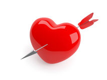 Arrow in heart. Isolated red heart pierced by arrow Stock Image