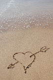 Arrow in the heart of the beach. Stock Image