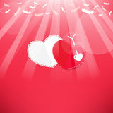 Arrow and heart Feathers from the sky Royalty Free Stock Images