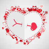 Arrow and Heart.,Red Valentine's Day Stock Photos