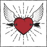 Arrow in heart and wings colored print with rays. Vector illustration in vintage style. Stock Photography