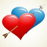 Arrow through hearts Royalty Free Stock Photos